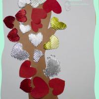 из бумаги, аппликация, сердце, дерево, с детьми
