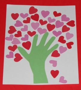 дерево с сердечками, делаем с детьми, из бумаги, сердце, аппликация